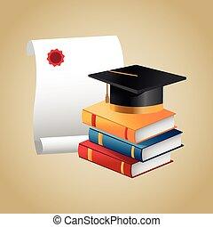 Books graduation cap and diploma design