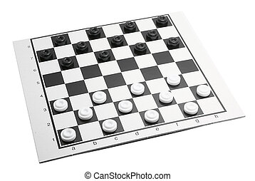 Checkers - Black and white checkers on playing field