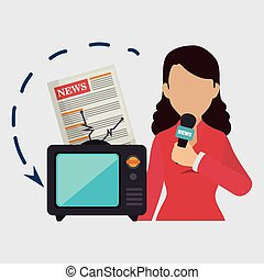 woman tv reportage news vector illustration eps 10