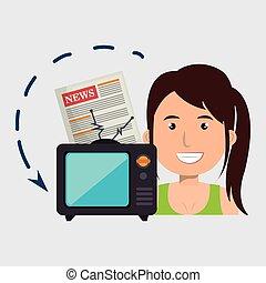 woman tv reportage news
