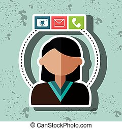 avatar email telephone camera vector illustration eps 10