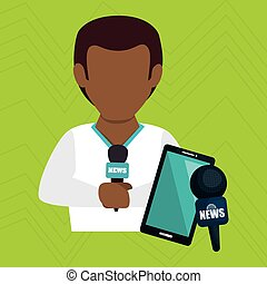 man news smartphone reportage vector illustration eps 10