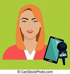 woman news smartphone reportage