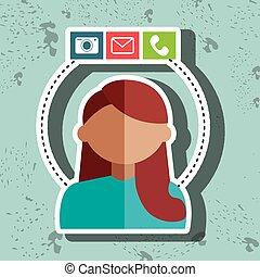 avatar email telephone camera vector illustration eps 10