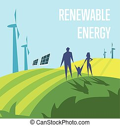 Renewable energy. Sun and wind power generation