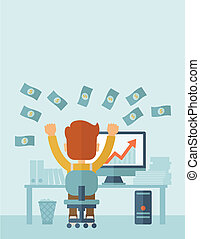 Business growth - Successful young businessman happy falling...