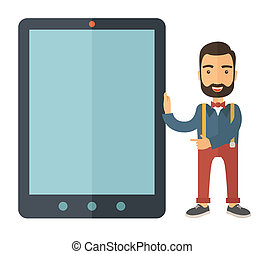 Man with big screen tablet. - A Caucasian with beard...