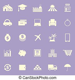 Loan color icons on violet background, stock vector