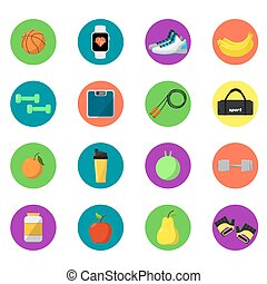 Sports and nutrition icons set