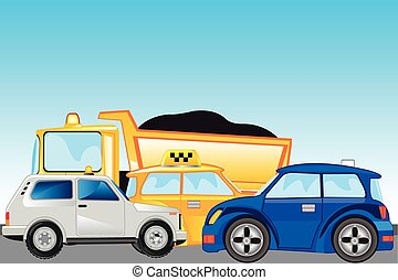 Much cars on road - The Road and much cars on her.Vector...