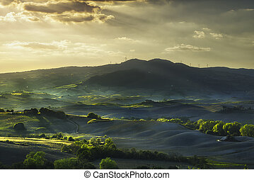 Tuscany, rolling hills on sunset. Rural landscape. Green fields and farmlands. Italy