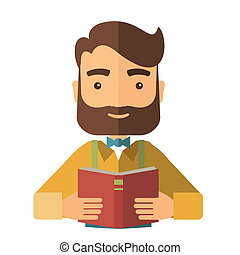 Man reading a medical book. - A caucasian with beard reading...