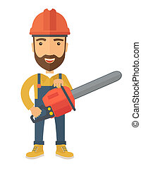 Lumberjack with chainsaw - A lumberjack holding a chainsaw...