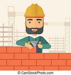 Builder man is building a brick wall. - A smiling builder...