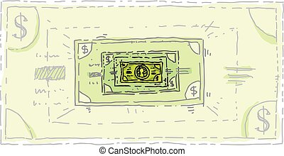 Shrinking Dollar - A green, cartoon dollar bill that is...