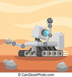 mars rover robot collecting stone sample