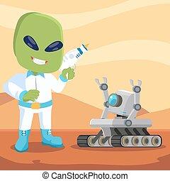 mars rover robot meet alien