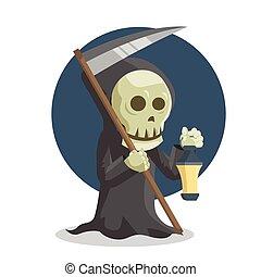 grim reaper holding lamp