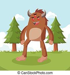 bigfoot walking on forest vector illustration design