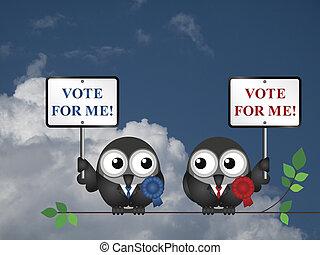 vote, pour, me, Politiciens