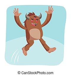 bigfoot jumping vector illustration design