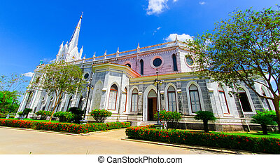 nativity of Our Lady Cathedral, Bang Nok Khwaek,Big white cathedral The center of the Christian faith in Thailand.