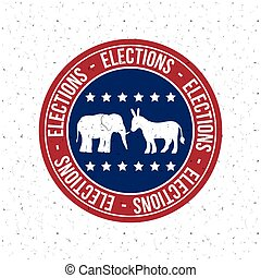 Isolated Donkey and elephant button of vote concept - Donkey...