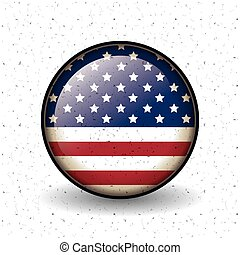Isolated usa flag button of vote concept - Usa flag inside...