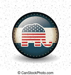 Isolated elephant button of vote concept - Elephant inside...