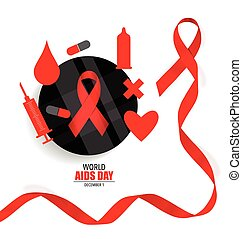 AIDS Awareness red ribbon World AIDS Day 1st December World...
