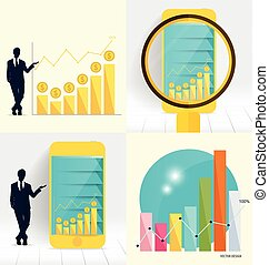Businessman showing graph. Vector illustration.