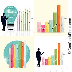 Businessman showing graph. Vector illustration. -...