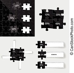 Modern infographics template style. Business puzzle pieces . Vector illustration.