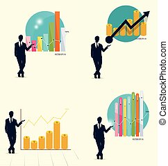 Businessman showing graph Vector illustration - Businessman...