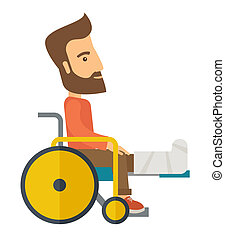 Man in a wheelchair - A Man in a wheelchair with broken...