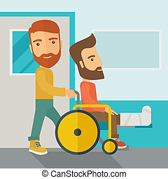 Man pushing the wheelchair with broken leg patient. - A...