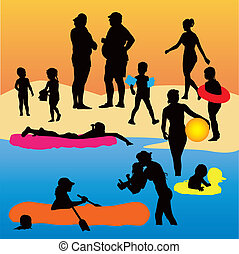 People on the beach - Holiday color vector illustration Kids...