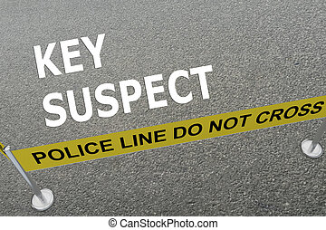 Key Suspect concept - 3D illustration of 'KEY SUSPECT' title...