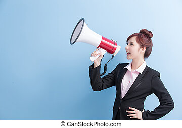 business woman take microphone happily with isolated on blue...