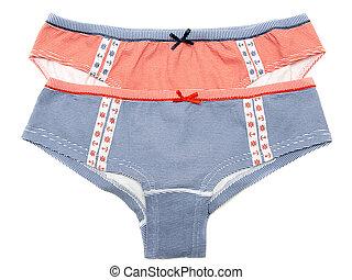 Two feminine panties in turn blue strip with pattern in the...