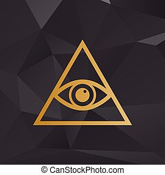All seeing eye pyramid symbol Freemason and spiritual Golden...