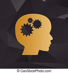 Thinking head sign. Golden style on background with...