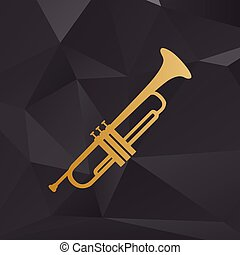 Musical instrument Trumpet sign. Golden style on background...