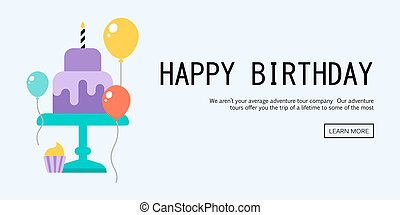 Happy Birthday Greeting Card - Vector Illustration of a...