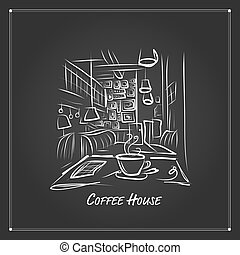 Morning coffee in cafe, sketch for your design