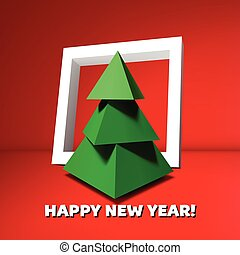 Low poly Christmas tree with frame