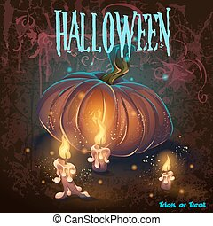 Halloween vector illustration with candles, pumkin, flame
