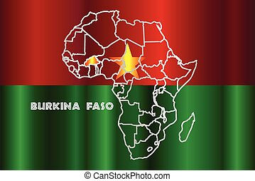 Burkina Faso Isolated On Map - Burkina Faso outline inset...