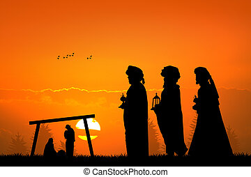 three wise men at sunset - illustration of three wise men at...
