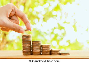 pesos, finanzas, empresa / negocio, Pila, ahorros, concepto, mujer, concepto, ahorro, mano, foco, selectivo, Crecimiento, inversión, dinero, Crecer, poniendo, moneda, Pila